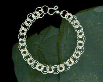 Bracelet Sterling Silver Wire Circles Chainmaille Design Modern Minimalists Eco Friendly Recycled Silver, Handcrafted Metalwork