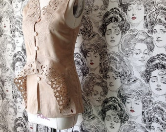 Upcycled Linen Lace Tank Peplum, Beige - Size S