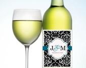 Wedding Wine/Champagne Label - Damask Monogram  (Waterproof)