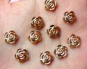 Tiny Rose Cabochon (Gold) (10pcs) Nail Art Nail Decoration Earrings Making Fake Miniature Cupcake Topper NAC063