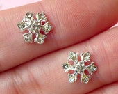 Mini Snowflakes Cabochon (2pcs) (Silver w/ Clear Rhinestones) Fake Miniature Cupcake Topper Earring Making Nail Art Decoration NAC072