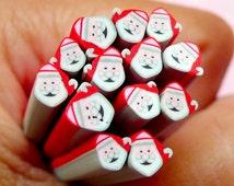 Santa Claus Polymer Clay Cane Christmas Fimo Cane Scrapbooking Earrings Making Nail Art Nail Decoration Miniature Sweets Deco CCH27