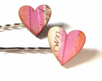 heart hair clip set in collage paper pink with cursive text - 2 bobby pins jewelry / hair accessories