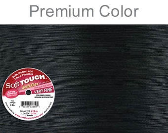"""0.010"""" Soft Flex Soft Touch Beading Wire very fine in 30 ft black color"""