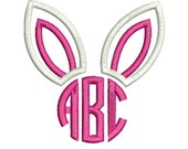"Bunny Ears Monogram Applique Design For Machine Embroidery shown with our ""Circle 3 Letter"" Font INCLUDED Instant Download now available"