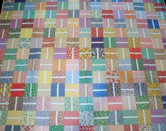 Free Shipping --FEEDSACK Patchwork Quilt  in Twin Size