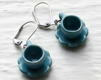 Blue Tea Cup Earrings, Tea Cup Earrings, Tea Cup Jewelry, Tea Jewelry, Tea Cup Jewellery, Miniature Teacup Jewelry