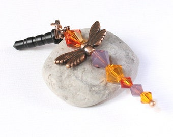 Crystal Dragonfly Charm - Woodland Creature Mobile, Fire Opal Crystals, Purple Cyclamen Opal Crystal Bicone Beads, Copper Wings