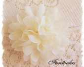 "Patty - 4"" Chiffon Puff Flower, Headband flower, Hair Clip flower, DIY flower, Soft layered flower, Ivory"