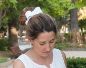 Bridal bow headpiece - white and silver crochet bow - handmade unique piece