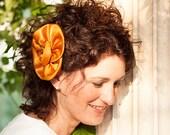 Mustard flower head piece for a romantic bride or brooch, big head comb