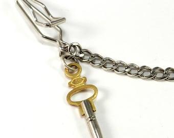 Steampunk Pocket Watch Chain, Wallet Chain, Vintage Pocket Watch Key,  Steel - Steampunk Jewelry by Compass Rose Design