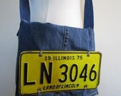 Denim Messenger Bag Route 66 Retro Upcycled License Plate Unisex – Size Medium