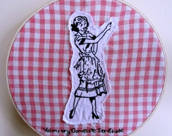 Fabric Collage Wood Hoop Frame Embroidery Retro Small Wall Art  - 8.5 x 8.5 Inches