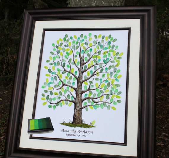 Guestbook ideas wedding tree guest book poster with ink pad oak tree thumbprint guestbook alternative signature tree art print unique guest