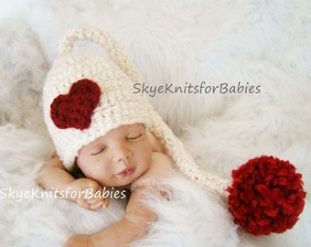 Crocheted Heart Hat, Baby Girl Hat, Baby Boy Hat, Crocheted Sweet Heart Baby Elf Hat, Size Preemie - 6 Months, Photography Prop
