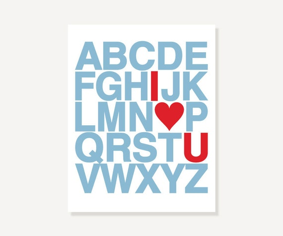 I Love You Alphabet Letters - Custom Colors Typographic Art Print by ColorBee