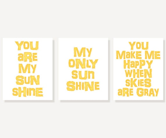 Typographic Prints: You Are My Sunshine - Set of 3 Nursery Print Kids Wall Print Poster Prints