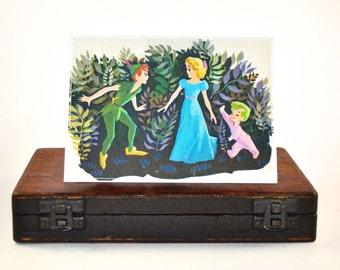 PETER PAN and WENDY greeting card repurposed vintage Little Golden Book party children birthday blank invitation upcycled card