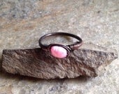 Bohemian Gypsy Wire Wrapped Pink Pearl Stacking Ring