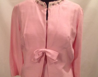 Vintage Pink Two Piece Ladies Suit With Beaded Neckline
