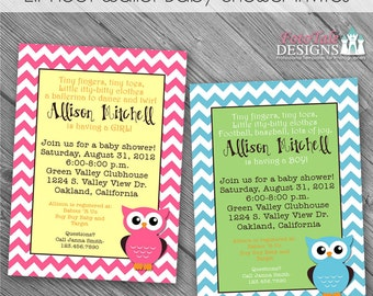 INSTANT Download - Lil' Hoot Baby Shower Invites- 2 custom 5x7 invitation templates
