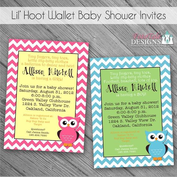 INSTANT Download - Lil' Hoot Baby Shower Invites- 2 custom 5x7 invitation templates