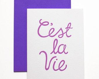 Thinking of You Card - C'est La Vie - Letterpress