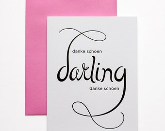 Thank You Card - Letterpress Thank You - Danke Schoen Darling Danke Schoen