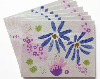 Watercolor Notes - Set of 6 Cards - Multi Floral Pattern