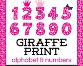 Giraffe Patterned Letters and Numbers Clip Art in Pink