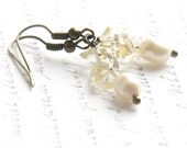 Citrine Gemstone Earrings, Champagne Freshwater Pearl, Boho Rustic Tribal Primitive, Wire Wrapped Antique Bronze