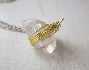 Clear Quartz Point Necklace - Nautral Quartz Lemon Yellow Wire Wrapped Pendant Necklace Silver Chain stone no.4