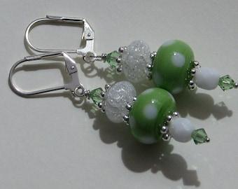 Apple Green Polka Dot Earrings, apple, green, polka dot, crystal, lampwork, glass