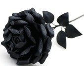 Black Leather Rose, Wedding/ 3rd Anniversary Gift Long Stem Flower Valentine's Day Gothic Wedding - Leatherblossoms