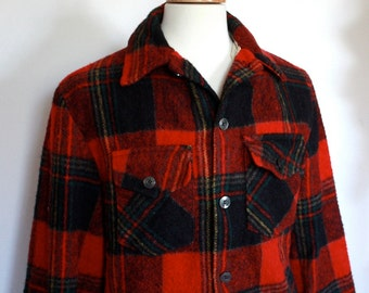 Vintage 1960s Men's Red Plaid Wool Woodsman Jacket