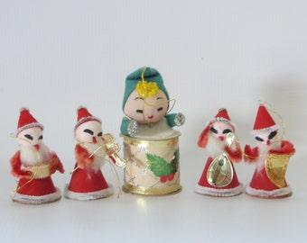 Vintage Christmas Spun Cotton Santa Elfs-Made in Japan-Set of 5