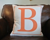 Letter B Monogram Pillow Cover/ 18x18/ Clearance