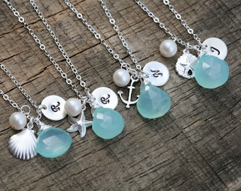10% OFF,Set of 5,Initial birthstone necklace,ocean charms,Beach Ocean Wedding,Anchor,sea shell,starfish,sand dollar,Bridesmaid gifts