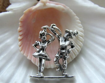 Sterling Silver Movable Ballroom Dancers Charm Articulated 3D 2.81g