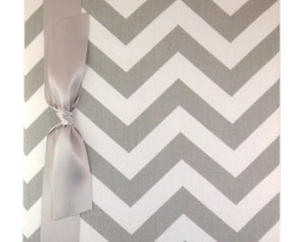Tight Bound Baby Memory Book - Grey and White Chevron Stripe