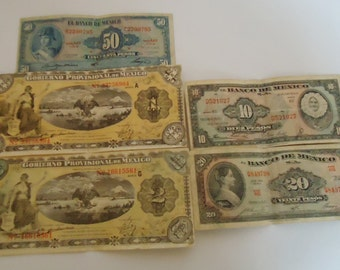 Five Mexicans Paper Money.Vintage