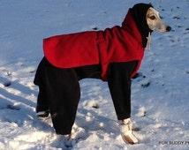 """Snoodyj's  Large size- Standard Fleece Body Suit with Head Covering Cowl for a dog  20"""" to 24""""  Great for whippets and similar sizes."""