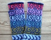 Blue and Red Fingerless Gloves - Colorful Wool Arm Warmers -  Fall Gloves -  Knit Fashion Gloves - Fall Accessories nO 10.