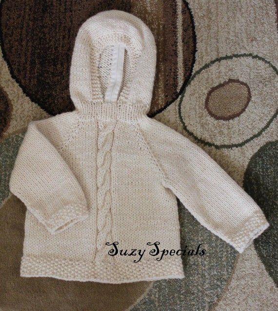 Knitting Pattern For Baby Sweater With Zipper In The Back : Hooded Off White Knitted Baby Sweater with Back by SuzySpecials