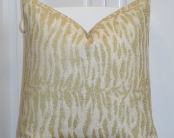 DOUBLE SIDED - Decorative Pillow Cover - Animal Motif - Accent Pillow - Chartreuse and Ivory - Cushion