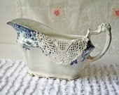 Antique Gravy Boat Blue and White Transfer Gold Trim Flow Blue