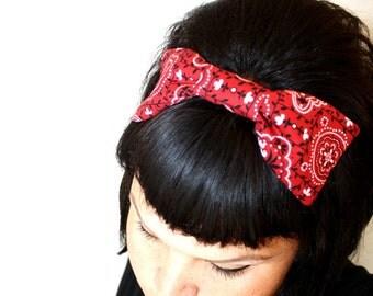 Bouffant Bow, Headband, Red Bandanna Print, Classy Doll, Retro, Rockabilly