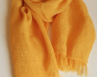 Yellow linen scarf, prewashed soft fringed unisex scarf, sunny yellow shawl, gift for him or her