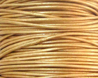 2 Yards - .5 mm Metallic Gold Leather Cord